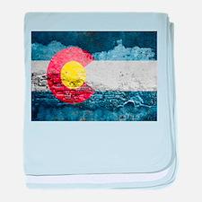 colorado concrete wall flag baby blanket