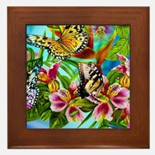 Beautiful Butterflies And Flowers Framed Tile
