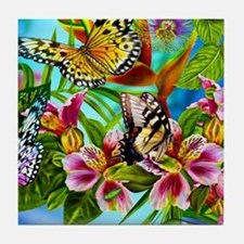 Beautiful Butterflies And Flowers Tile Coaster