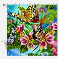Beautiful Butterflies And Flowers Shower Curtain