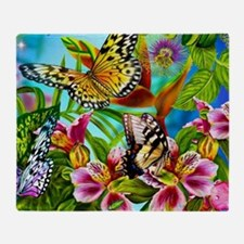 Beautiful Butterflies And Flowers Throw Blanket