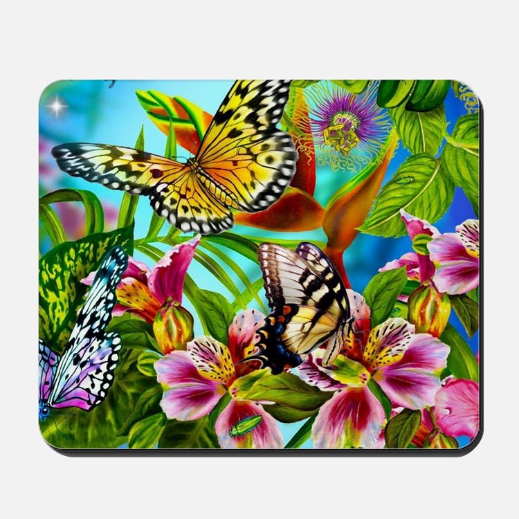 Beautiful Butterflies And Flowers Mousepad