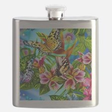 Beautiful Butterflies And Flowers Flask