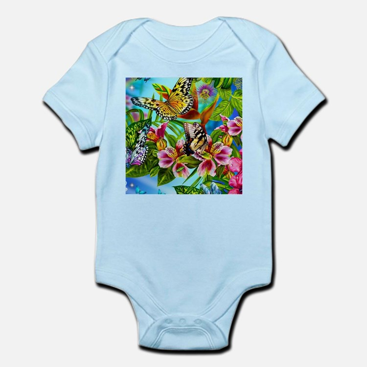 Beautiful Butterflies And Flowers Body Suit