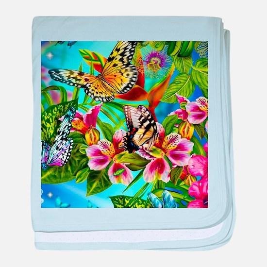 Beautiful Butterflies And Flowers baby blanket