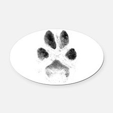 Zoe Pawprint White Oval Car Magnet