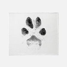 Zoe Pawprint White Throw Blanket