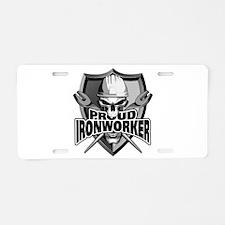 Proud Ironworker Skull Aluminum License Plate