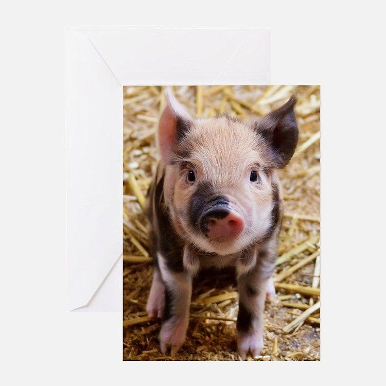 Cute Happy pig Greeting Card