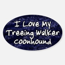 Funky Love Treeing Walker Coonhound Oval Decal