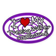 Hypno I Love My TW Coonhound Oval Sticker Purple
