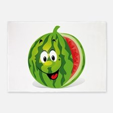 Cute Smiling Cartoon Watermelon 5'x7'Area Rug