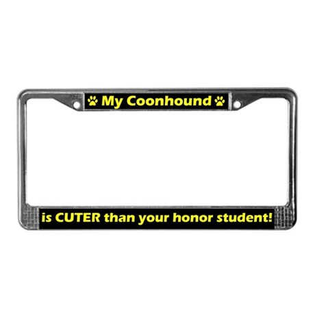 Honor Student Coonhound License Plate Frame
