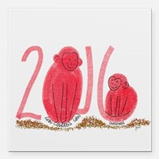"""Year of the Monkey Square Car Magnet 3"""" x 3"""""""