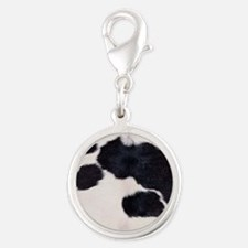 SPOTTED COW HIDE Silver Round Charm