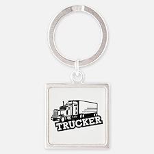Trucker truck Square Keychain