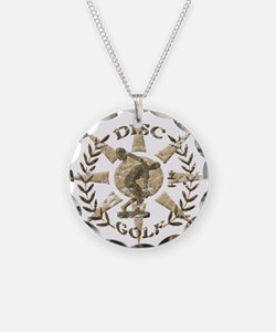 Disc Golf Discus Stone Glyph Necklace