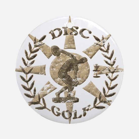 Disc Golf Discus Stone Glyph Origin Round Ornament