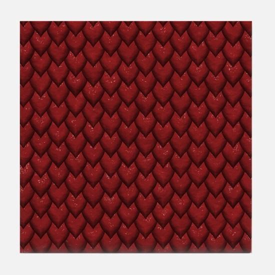 RED REPTILE SKIN Tile Coaster