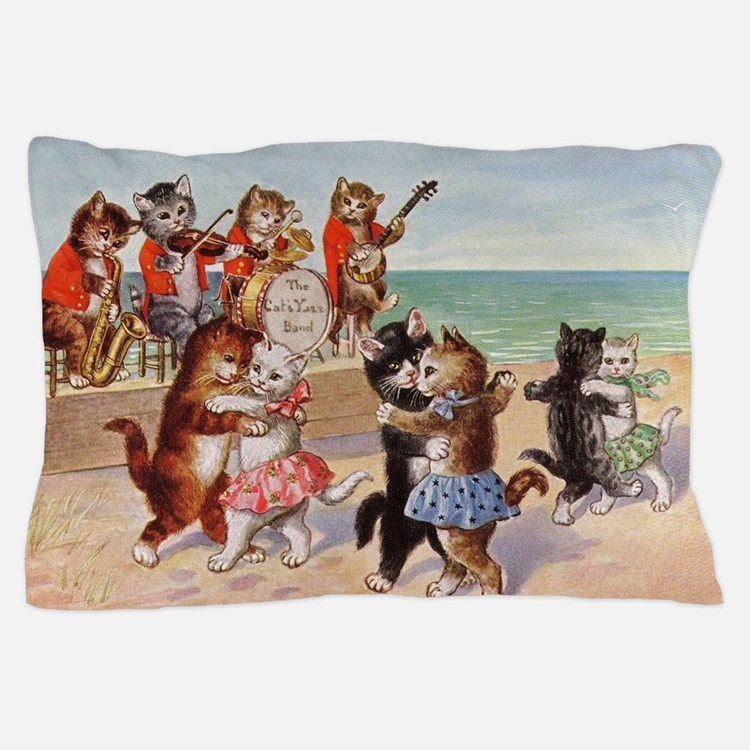 Cats Dancing at the Beach Vintage Poster Pillow Ca