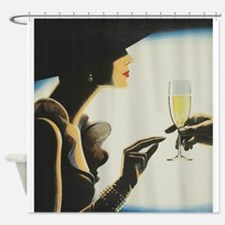 Fashionable Woman and Champagne Vi Shower Curtain