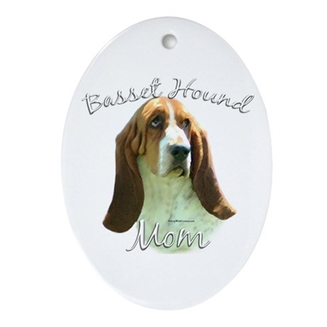 Basset Mom2 Oval Ornament