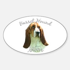 Basset Mom2 Oval Decal