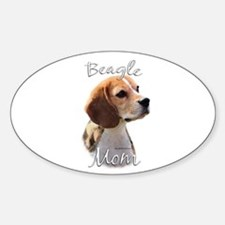 Beagle Mom2 Oval Decal