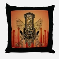Clef on a decorative button Throw Pillow