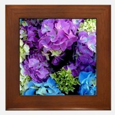 Colorful Hydrangea Bush Framed Tile