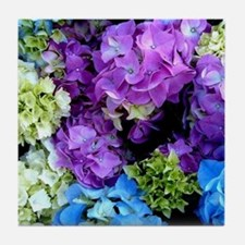 Colorful Hydrangea Bush Tile Coaster