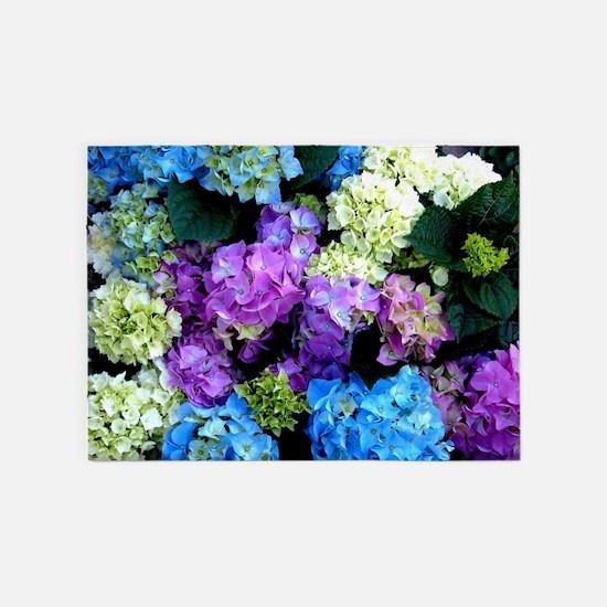 Colorful Hydrangea Bush 5'x7'Area Rug