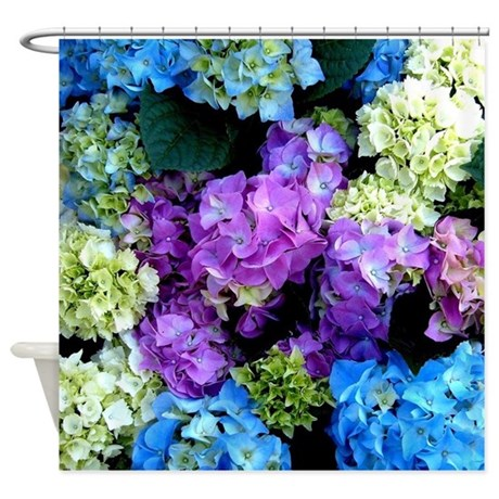 Colorful Hydrangea Bush Shower Curtain By Costasonlineshop