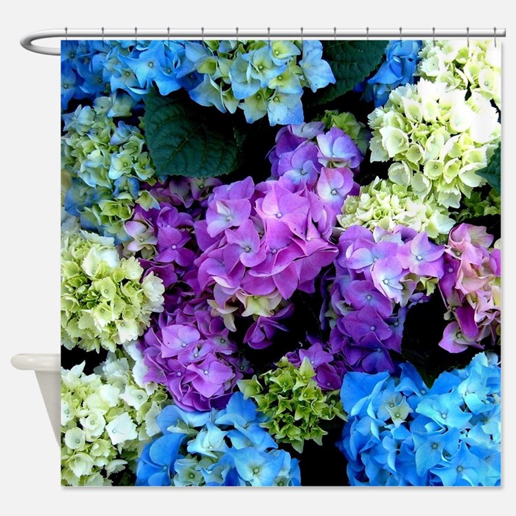 Colorful Hydrangea Bush Shower Curtain