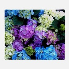 Colorful Hydrangea Bush Throw Blanket