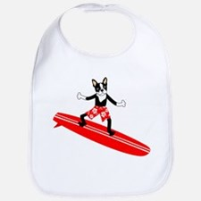 Boston Terrier Surfer Baby Bib