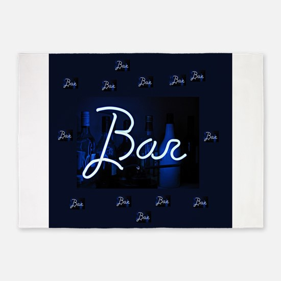 bar sign neon blue party sign 5'x7'Area Rug