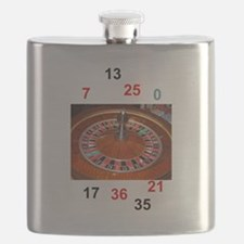 Casino roulette gaming wheel with numbers Flask