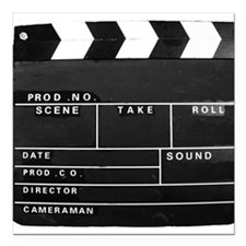 """Clapperboard for movie m Square Car Magnet 3"""" x 3"""""""