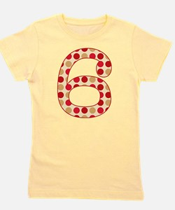 6th Birthday Polka Dots Girl's Tee