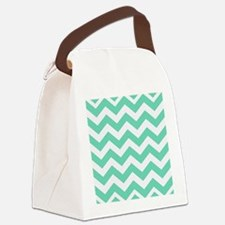 Mint Green Zigzags Canvas Lunch Bag