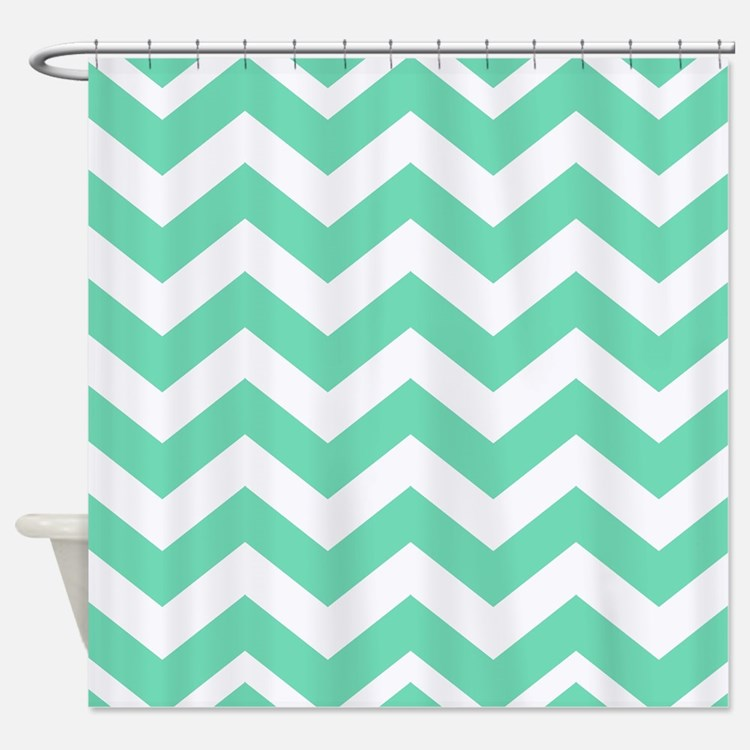 Mint Green Chevron Shower Curtains Mint Green Chevron Fabric