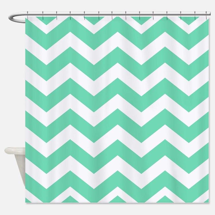 Mint Green Chevron Shower Curtains | Mint Green Chevron Fabric ...