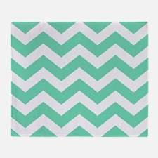 Mint Green Zigzags Throw Blanket