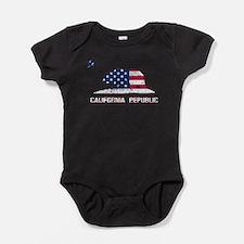 California Republic American Flag Baby Bodysuit