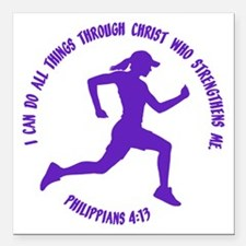 "PHILIPPIANS 4:13 Square Car Magnet 3"" x 3"""