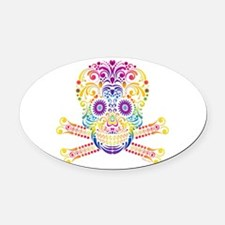 Decorative Candy Skull Oval Car Magnet