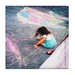 Museum Mile Girl w/chalk Tile Coaster