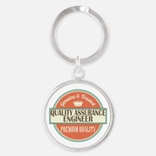 quality assurance engineer vintage Round Keychain