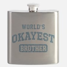 World's Okayest Brother Vintage Flask